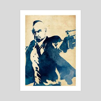 Hitman - Watercolor Stencil, an art print by Dusan Naumovski
