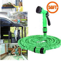 Flexible 50FT Expandable Garden Hose Water Pipe + 7 Sparying Water Modes Spray Gun = 1842790276