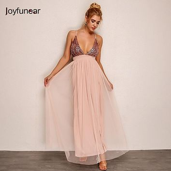 Joyfunear new pink color stitching perspective gauze loose  sequin deep  V strap  women  mesh dress  vestidos