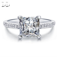 Engagement Wedding Rings for Women white gold filled Square design cubic zircon Diamond Bijoux Rings Bague femme anillos DD079