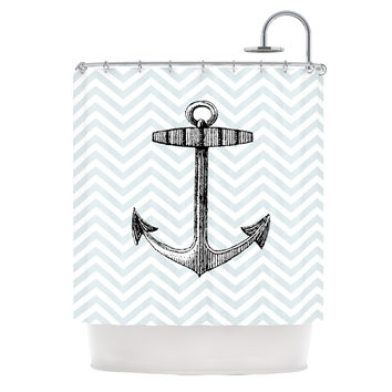 "Suzanne Carter ""Anchor"" Black Blue Shower Curtain"