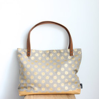 Linen and leather tote bag, Gold polka dot pattern