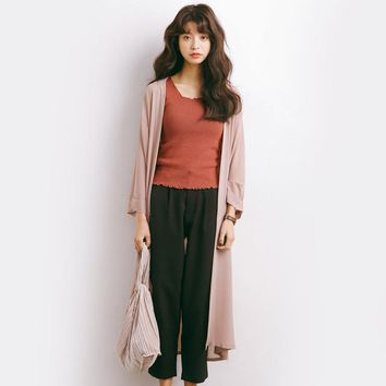 summer Cardigan blouse women Open Front Beach Loose Kimono girls black pink and blue Casual Long Cardigan Tops Outwear A732