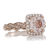 14ktRose Gold 1.72ct Round Peach Morganite AAA Quality and Natural Diamonds .29tw FSI1 Halo Engagement Ring Wedding Ring Anniversary Ring