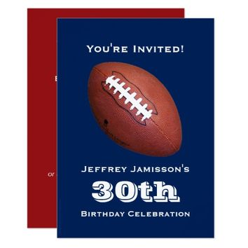 30th Birthday Party Invitation, Football Card