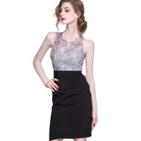 Lixmee women sleeveless embroidery sexy eveing dress