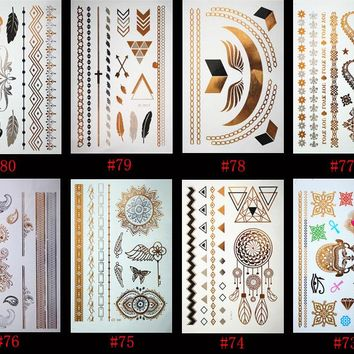 Indian Arab body art woman metal temporary Mandala flash tattoo necklace sticker gold lace 8PCS