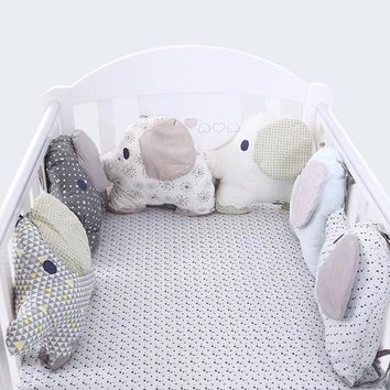 Baby Bedding Shaker Bed Creative Pillow Fresh Embroidered Print Cotton Elephant Shape Cushion Crib Padding Bumper