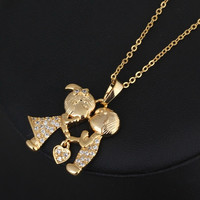 Popular 18K Yellow Gold Wedding Engagement Necklace Pendant Chain With White Zircon Jewelry Gift = 1929854980