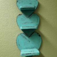 Distressed Turquiose Wood Heart Shelf Upcycled by sodistressed