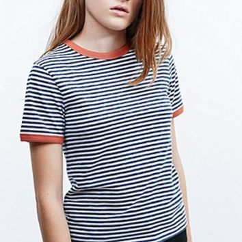 Cooperative Stripe Marl Ringer Tee in Blue - Urban Outfitters