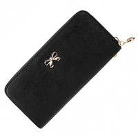 Women Fashion Synthetic Leather Zip Around Solid Purse Credit ID Card Holder Long Clutch Wallet With Wrist Strap