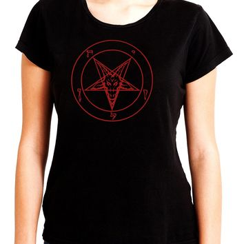 Red Baphomet Inverted Pentagram Women's Babydoll Shirt Top Occult