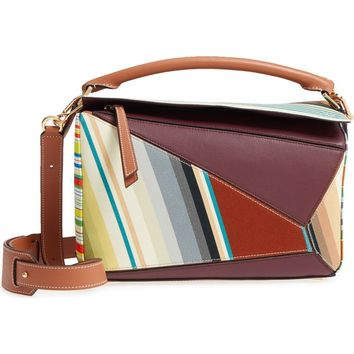 Loewe Medium Puzzle Stripe Canvas & Leather Shoulder Bag | Nordstrom
