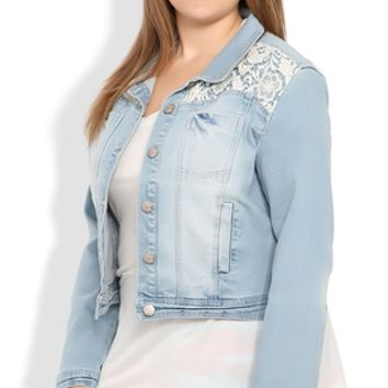 Plus Size Light Wash Denim Jacket with Crochet Front Details