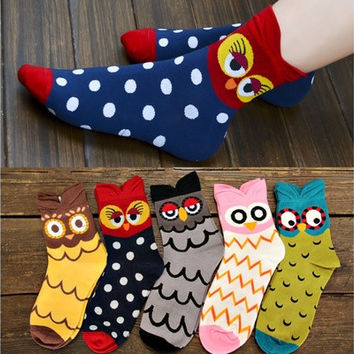 Kawaii Colorful Owl Socks Women's 100% Cotton Socks [8833660108]