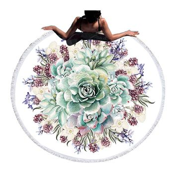 Round Floral Print Tapestry (Tassel/White/Green)