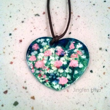 flower necklace polymer clay pendant handpainted charm flower pendant handmade ornament