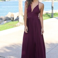 Wine Pleated Maxi Dress with Criss Cross Back
