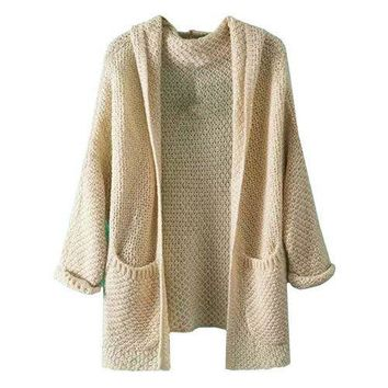 COLROVIE Casual Ladies Knitwear High Street  Latest Coat Solid Twin Pockets Chunky Knit Long Sleeve Hooded Loose Cardigan