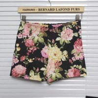Pastoral Style Elastic Band Floral Print High Waist Shorts 4 Colors