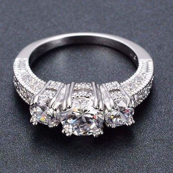 Silver 3-Stone Promise Engagement Ring Made with Cubic Zirconia 1.92 CT Ring