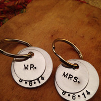 Hand Stamped Wedding Key Ring, Mr. & Mrs. Key Ring, Bridal Shower Gift, Wedding Gift, Stamped Gift, Bride and Groom Key Rings,