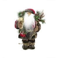 "12"" Country Rustic Standing Santa Claus Christmas Figure with Knitted Snowflake Jacket"
