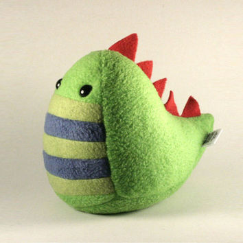Plush Stuffed Dinosaur Handmade in Greens and Blue with Red Spikes