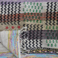 Hand Woven Durrie Carpet, Hand Block Printed Rag Rug, Zig-Zag & Floral Pattern, Reversible, Multi Color, Handmade Meditation Mat