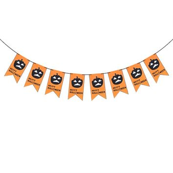2.5M Non-woven Fabric Pumpkin Bunting Banner Halloween Dual-layer Banners for Home Haunt House Party Decoration Ornaments