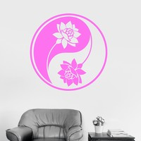 Vinyl Wall Decal Yin Yang Lotus Yoga Meditation Buddhism Art Mural Stickers Unique Gift (ig3107)