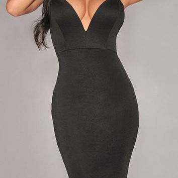 Black Deep V Neck Strapless Bodycon Midi Dress