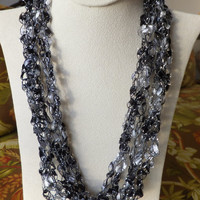 Shimmering Black,Whiite and Silver Trellis Ribbon Ladder Yarn FREE SHIPPING