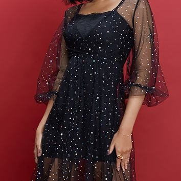 Meaningful Memories Black Sheer Mesh Polka Dot Star Pattern Flare Elbow Sleeve Cross Wrap V Neck Casual Midi Dress