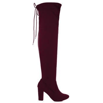 Snivy Vino By Delicious, OTK Over Knee Thigh High Slouchy Boots w/ Back Lace Tie & Block Heel