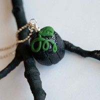 Black Glitter Pumpkin Necklace, Halloween Jewelry, Autumn Jewelry