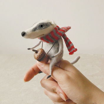 Needle felted badger, felt ornament, soft sculpture, figurine,  acorn, striped scarf, animal forest, tender mouse