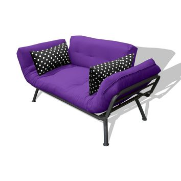 American Furniture Alliance Modern Loft Collection Futon Mali Flex Combo, Purple/Black Polka Dot