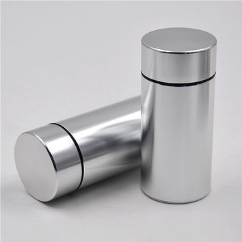 1pc Pill Box WaterProof Rubber Airtight Silver Aluminum Drug Case Bottle Holder Container Bottle Storage Smellyproof Stash Case