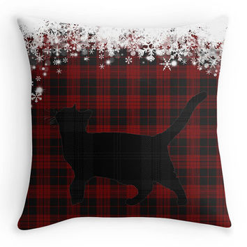Tartan Christmas Cushion Cover, Red and Black Tartan Cat, Snowflakes Scatter Cushion, 16x16, Xmas Decoration, Gift
