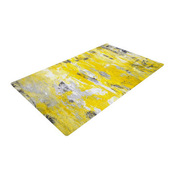 "CarolLynn Tice ""Picking Around"" Yellow Woven Area Rug"