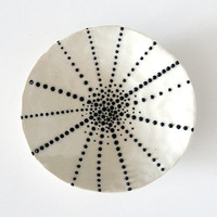 "Handmade, Ceramic Stoneware Dish with Black and White Dots / Small and Decorative / Cosmic Tortilla 05 ""SEA CREATURE"""