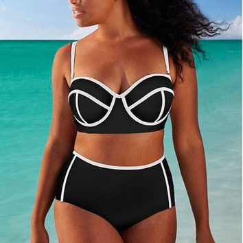 Bikini Black White Underwire Push Up Bikini Set Swimwear Women Ball Swimsuit High Waist Bathing Suits