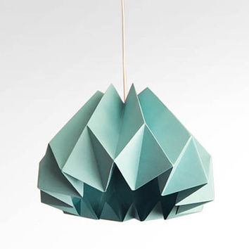 Pumpkin/Origami Paper Lamp Shade-Turquoise