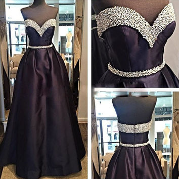 fashion luxury black long prom dress 2016 sweetheart beaded sequin  women pageant gown for formal evening party vestido festa