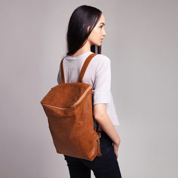 Honey Brown Leather Backpack, Laptop Bag, Messenger Bag, School Bag, Brown Leather Bag, Unisex