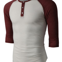LE3NO PREMIUM Mens Slim Fit Raglan 3/4 Sleeve Baseball Button Henley Shirt