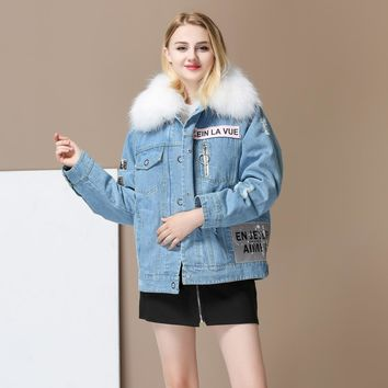 AR Women Thicken Natural detachable Raccoon Fur Lined Denim Coat Embroidery Jeans Jackets Real Fox Fur Female Jacket Overcoat