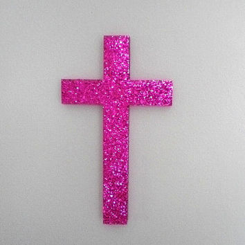 "PINK GLITTER CROSS - Sparkling Hot Pink Glitter Wall Cross- 9.5"" x 5.5"""
